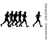 set of silhouettes. runners on... | Shutterstock . vector #1361039363