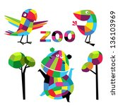 vector set with animals | Shutterstock .eps vector #136103969