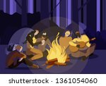 young people sitting around... | Shutterstock .eps vector #1361054060