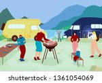 happy family and friends having ... | Shutterstock .eps vector #1361054069