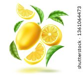 realistic whole lemon  half and ... | Shutterstock .eps vector #1361064473