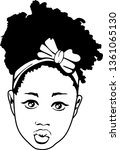 small black girl with bow ... | Shutterstock .eps vector #1361065130