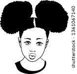 sweet afro girl vector | Shutterstock .eps vector #1361067140