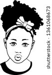 beauty black girl with bow ... | Shutterstock .eps vector #1361068673