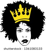 black woman with crown vector | Shutterstock .eps vector #1361083133