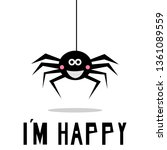 smiling spider hanging down on... | Shutterstock .eps vector #1361089559