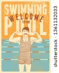 welcome to the swimming pool.... | Shutterstock .eps vector #1361132033