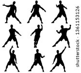 black set silhouettes man with... | Shutterstock . vector #1361153126