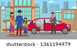wealthy indian family waiting... | Shutterstock .eps vector #1361194979