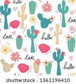 cute tropical cactus hand drawn ... | Shutterstock .eps vector #1361196410