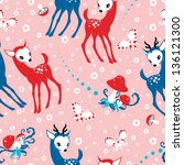 cute baby deer children pattern.... | Shutterstock .eps vector #136121300