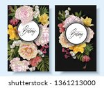 vector vintage floral banners... | Shutterstock .eps vector #1361213000