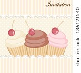 cupcake invitation card | Shutterstock .eps vector #136121540