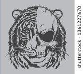 Tiger Skull Illustration  Tee...