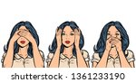 woman i see nothing  hear... | Shutterstock .eps vector #1361233190