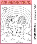 coloring book. little unicorn... | Shutterstock .eps vector #136123730