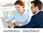 female client intern colleague... | Shutterstock . vector #1361250629