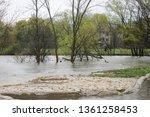 flooded stone pedestrian...   Shutterstock . vector #1361258453