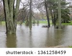 flooded picnic tables...   Shutterstock . vector #1361258459