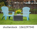 Two Light Blue Garden Chairs...