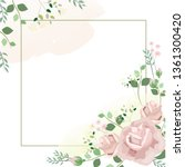 flower frame with roses and... | Shutterstock .eps vector #1361300420