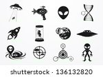 alien and ufo icons set   Shutterstock .eps vector #136132820