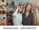 two lovely cheerful female...   Shutterstock . vector #1361363270