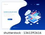 isometric chat bot and online... | Shutterstock .eps vector #1361392616