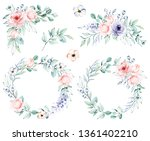 watercolor flower set   wreaths ... | Shutterstock . vector #1361402210