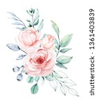 watercolor flower bouquet....   Shutterstock . vector #1361403839