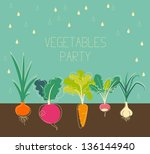 Vintage garden banner with root veggies