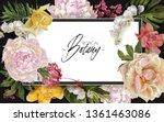 vector vintage floral frame... | Shutterstock .eps vector #1361463086