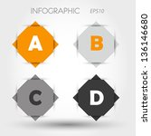 orange and grey rhombus infographic ABCD. infographic concept.