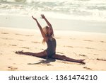 caucasian woman practicing yoga ... | Shutterstock . vector #1361474210
