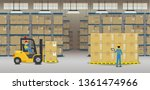 Warehouse interior with workers working flat design vector illustration