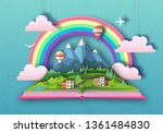 open fairy tale book with... | Shutterstock .eps vector #1361484830
