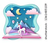 open fairy tale book with... | Shutterstock .eps vector #1361485109
