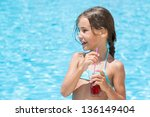 the girl came out of the pool... | Shutterstock . vector #136149404