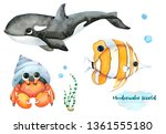 underwater inhabitants. hand... | Shutterstock . vector #1361555180