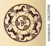 ancient celtic symbol of horses ... | Shutterstock .eps vector #136155548