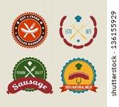 sausage badges vintage vector... | Shutterstock .eps vector #136155929