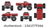 red monster truck vector mockup ... | Shutterstock .eps vector #1361579366