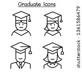 graduate icon set in thin line... | Shutterstock .eps vector #1361586479