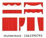 set of red velvet curtains for... | Shutterstock .eps vector #1361590793