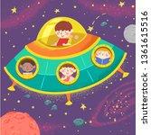 illustration of kids writing... | Shutterstock .eps vector #1361615516