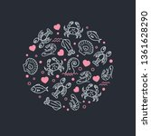 sea life and heart icons in... | Shutterstock . vector #1361628290