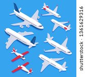 isometric airplanes. passenger... | Shutterstock .eps vector #1361629316