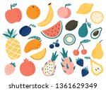 doodle fruits. natural tropical ... | Shutterstock .eps vector #1361629349