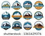mountain labels. hiking emblems ... | Shutterstock .eps vector #1361629376