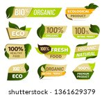 vegan emblem. fresh nature... | Shutterstock .eps vector #1361629379